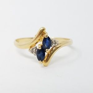 14k gold marquise cut sapphire diamond accent ring